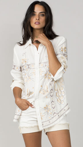 MM Vintage Women's White Embroidered Long Sleeve Shirt, White, hi-res