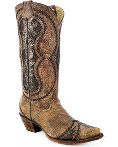 Corral Women's Glitter Diamond Inlay Strap Cowgirl Boots - Snip Toe , , hi-res