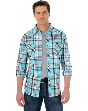 Wrangler 20X Light Teal and Red Plaid Western Shirt, Lt Teal, hi-res