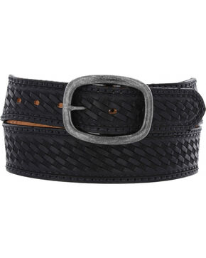 Chippewa Men's Black Basketweave Oak Ridge Leather Belt , Black, hi-res