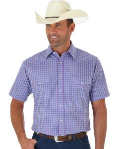 Wrangler Wrinkle Resist Men's Purple Plaid Short Sleeve Western Shirt , Purple, hi-res