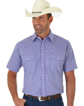 Wrangler Wrinkle Resist Men's Purple Plaid Short Sleeve Western Shirt , Purple, hi-res