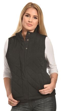 Jane Ashley Women's Black Faux Suede Quilted Vest , , hi-res