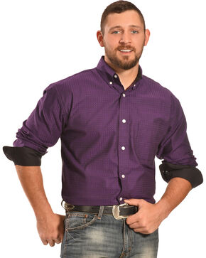 Crazy Cowboy Men's Purple Plaid Western Shirt , Plaid, hi-res
