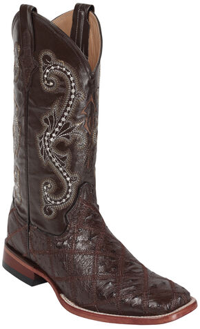 Ferrini Ostrich Patchwork Exotic Western Boots - Square Toe , Chocolate, hi-res