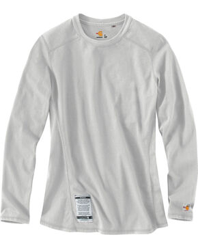 Carhartt Women's Flame Resistant Force Long Sleeve Top, Lt Grey, hi-res