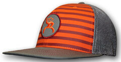 "HOOey Men's Roughy ""Chute"" Orange Striped Trucker Hat, , hi-res"