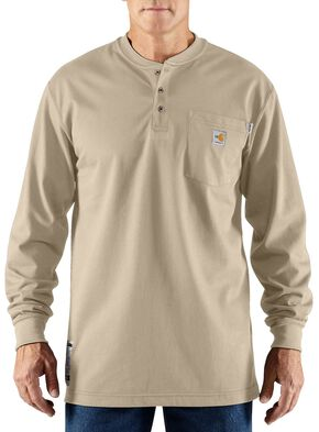 Carhartt Flame Resistant Henley Long Sleeve Work Shirt, Sand, hi-res