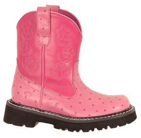 Roper Children's Faux Ostrich Print Cowgirl Boots, Pink, hi-res