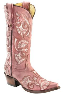 Corral Floral Embroidered Pink Cowgirl Boots - Snip Toe, , hi-res