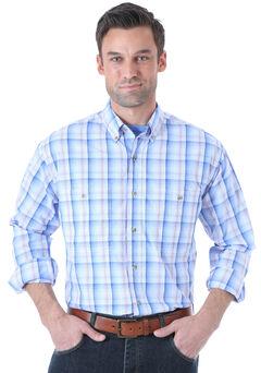 Wrangler Men's Rugged Wear Blue Plaid Long Sleeve Shirt , , hi-res