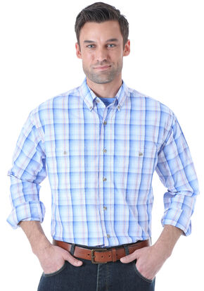 Wrangler Men's Rugged Wear Blue Plaid Long Sleeve Shirt , Blue, hi-res