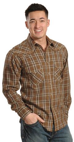 Ariat Hearne Chestnut Plaid Retro Snap Long Sleeve Shirt, , hi-res