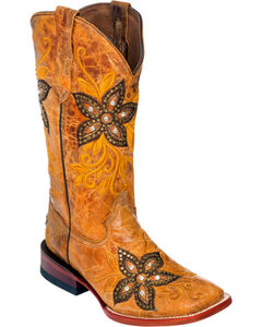 Ferrini Tan Star Power Cowgirl Boots - Square Toe, , hi-res