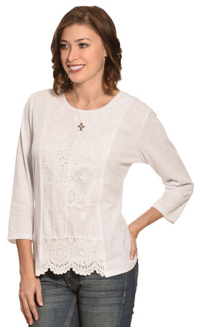 New Direction Sport Women's White Lace Print Scalloped Top , White, hi-res