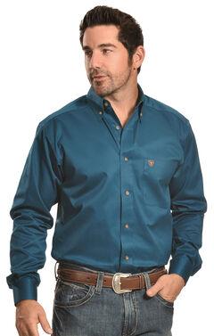 Ariat Men's Solid Blue Twill Western Shirt - Big & Tall, , hi-res