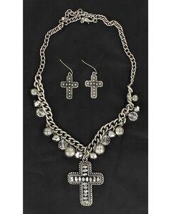 Blazin Roxx Hematite Beaded Cross Pendant Necklace & Earrings Set, , hi-res