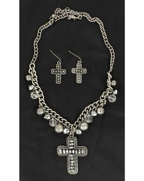 Blazin Roxx Hematite Beaded Cross Pendant Necklace & Earrings Set, Silver, hi-res