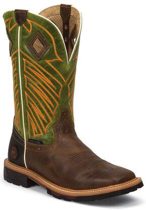 Justin Original Work Boots Men's Green Hybred Work Boots - Steel Toe, Tan, hi-res