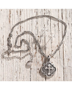 Lightning Ridge Fancy Cross Charm Necklace Set, , hi-res