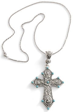 Montana Silversmiths Cross & Faux Turquoise Necklace, , hi-res