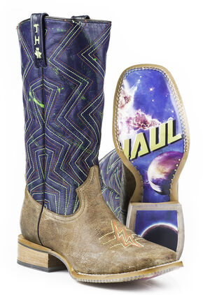 Tin Haul Phaser Black Hole Cowboy Boots - Square Toe, Tan, hi-res