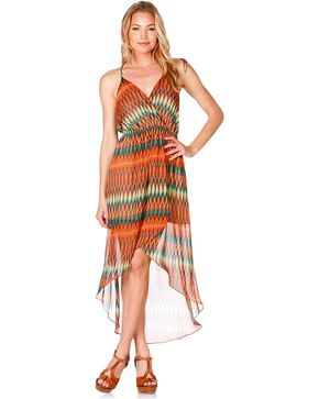 Miss Me Desert Oasis High-Low Dress, Red, hi-res