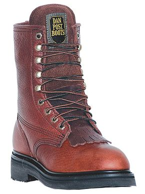 "Dan Post Portland 8"" Lace-Up Work Boots - Round Toe, Brown, hi-res"