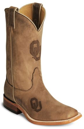 Nocona Oklahoma Sooners College Boots - Sq Toe, Tan, hi-res