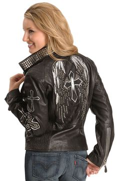 Corral Wing & Cross Black Leather Jacket, , hi-res