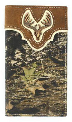 Nocona Mossy Oak Deer Skull Concho Rodeo Wallet, , hi-res