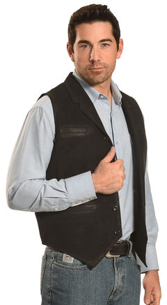 Ryan Michael Men's Black Leather Suede Vest , , hi-res