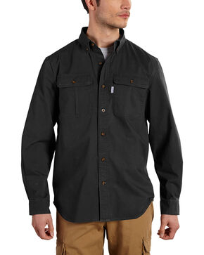Carhartt Men's Foreman Long Sleeve Work Shirt - Big & Tall, Black, hi-res