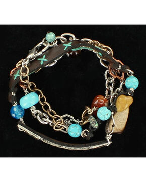 Blazin Roxx Mixed Stones Leather Strap Bracelet, Multi, hi-res