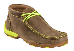 Twisted X Brown and Neon Yellow Leather Driving Mocs, , hi-res