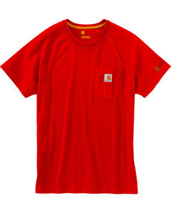 Carhartt Men's Red Force Cotton Delmont Short Sleeve Shirt, , hi-res