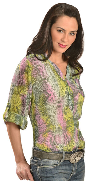 Wrangler Rock 47 Women's 3/4-Sleeve Snake Print Chiffon Shirt, Orchid, hi-res