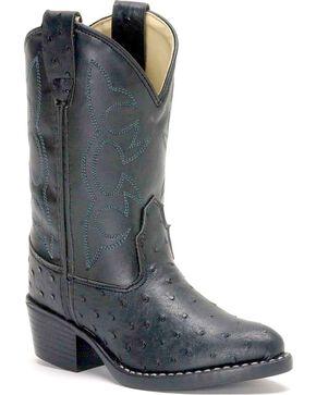 Old West Boys' Ostrich Print Cowboy Boots, Black, hi-res