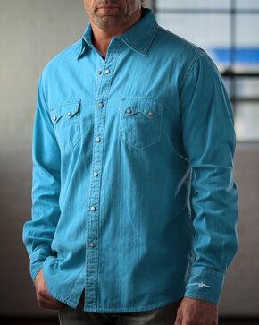 Ryan Michael Men's Sky Blue Aztec Jacquard Western Shirt , Blue, hi-res