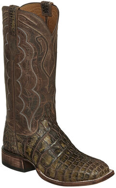 Lucchese Chocolate Vince Giant Gator Cowboy Boots - Square Toe  , , hi-res