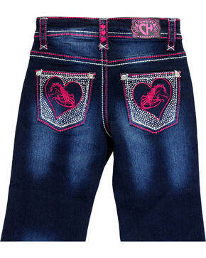 Cowgirl Hardware Toddler Girls' Horse Heart Embroidered Jeans (12MO-6T), Indigo, hi-res