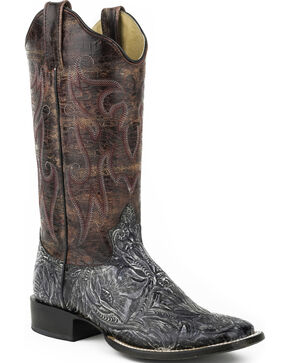 Roper Purple and Silver Faux Tooled Cowgirl Boots - Square Toe , Black, hi-res