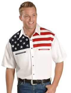 Scully American Flag Colorblock Western Shirt, , hi-res