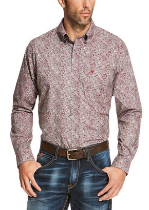 Ariat Men's Grey Seville Print Long Sleeve Shirt - Big and Tall, Grey, hi-res