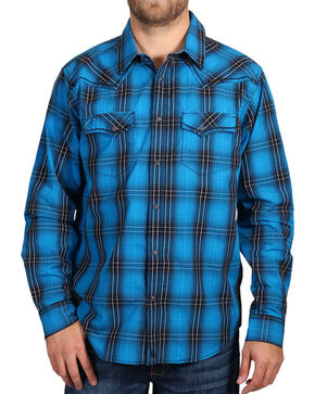 Cody James Men's Blue and Black Plaid Long Sleeve Shirt , Black, hi-res