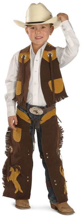 Kids' Faux Suede Vest and Chaps Set, Brown, hi-res