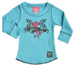 "Cowgirl Hardware Toddler Girls' Turquoise ""American Born"" Waffle Shirt , , hi-res"