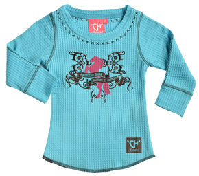 "Cowgirl Hardware Toddler Girls' Turquoise ""American Born"" Waffle Shirt , Turquoise, hi-res"