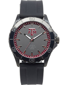Jack Mason Texas A&M Men's Blackout Silicone Strap Watch , Black, hi-res