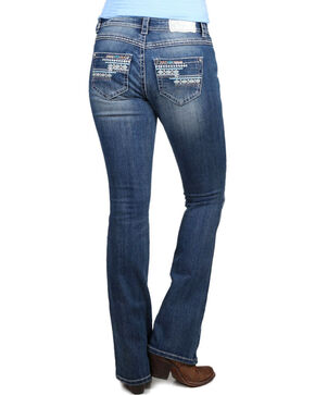 Shyanne Women's Aztec Embroidered Boot Cut Jeans, Blue, hi-res